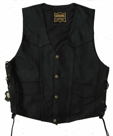 Kc501 gilet bolero cuir noir karno-motorsport biker rocker country gay
