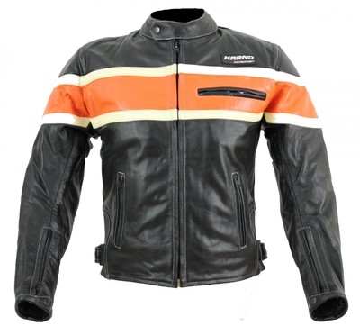 Kc011 blouson moto chopper karno-motorsport cuir noir/orange biker usa style