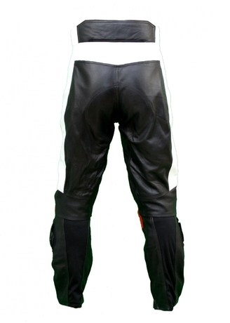 Kc300 pantalon moto quad racing cuir noir et rouge karno - sliders inclus-170366