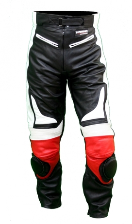 Kc300 pantalon moto quad racing cuir noir et rouge karno - sliders inclus