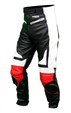 Kc300 pantalon moto quad racing cuir noir et rouge karno - sliders inclus-170367