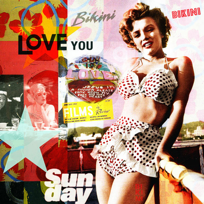 Impression photo sur toile, Marilyn with Love, 100 cm x 100 cm
