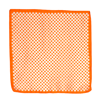 Carré de soie foulard mini imprimé pois orange 50 x 50 cm